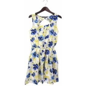 【中古】Heather ヘザー 花柄 背中開き ブラウジング ノースリーブ ワンピース M ホワイト ブルー系 レディース