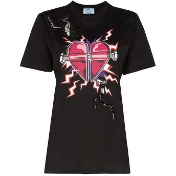 Prada デコラティブ ハートプリント Tシャツ - ブラック