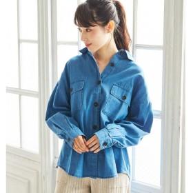 GeeRA デニムCPOシャツ ブルー M レディース 5,000円(税抜)以上購入で送料無料 シャツ 夏 レディースファッション アパレル 通販 大きいサイズ コーデ 安い おしゃれ お洒落 20代 30代 40代 50代 女性 トップス