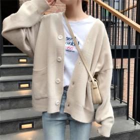 個性的なデザイン ミディアムロング 単体ボタン Vネック セーター カーディガン 女性 初秋 2019 新品 ゆったりする カレッジ風 怠惰な風 セーター カジュアル 百掛け コート