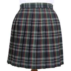 Phoenix's Shop プリーツスカート ミニ 丈40cm レディース 女の子 カワイイ フリフリ 制服スカート ゆらゆら 無地 快適 カジュアル きれい オフィス 学生 ハイウエスト 美脚 (XXXL, グリーン(チェック柄))