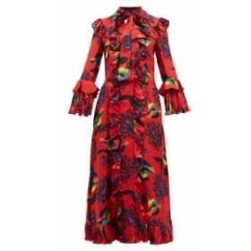 ラダブルジェー La DoubleJ レディース ワンピース ワンピース・ドレス Floral-print ruffle-trimmed silk midi dress Red