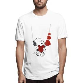 HAH Tシャツ メンズ 半袖 SNOOPY メンズシャツ シャツ メンズファッション Tシャツ メンズ 肌着 半袖 無地 カジュアル ファション おしゃれ 五分袖 夏 White M