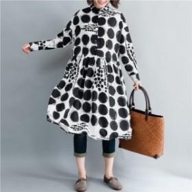 お得 長袖 ドット柄 シャツ ワンピース マキシ ロング 大人カジュアル 結婚式 30代 40代 50代 ファッション ミセス