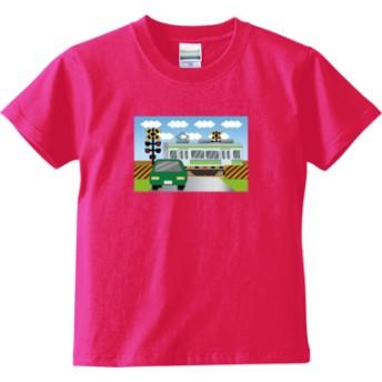 踏切電車 Tシャツ(キッズサイズ)(カラー : トロピカルピンク, サイズ : 110)