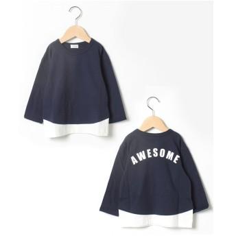 b-ROOM 重ね着風バックロゴTシャツ(紺)