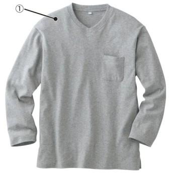 【レディース】 綿100%異素材使いTタイプパジャマ(男女兼用) - セシール ■カラー:ボトム:ネイビー系 ■サイズ:M,L,LL
