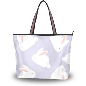 Akiraki トートバッグ レディース 大容量 メンズ おしゃれ かわいい ハンドバッグ バッグ 旅行 うさぎ 兎 アニマル かわいい 可愛い 動物柄 通勤 通学 ファスナー キャンパス 軽量 防水 肩掛け 誕生日 プレゼント