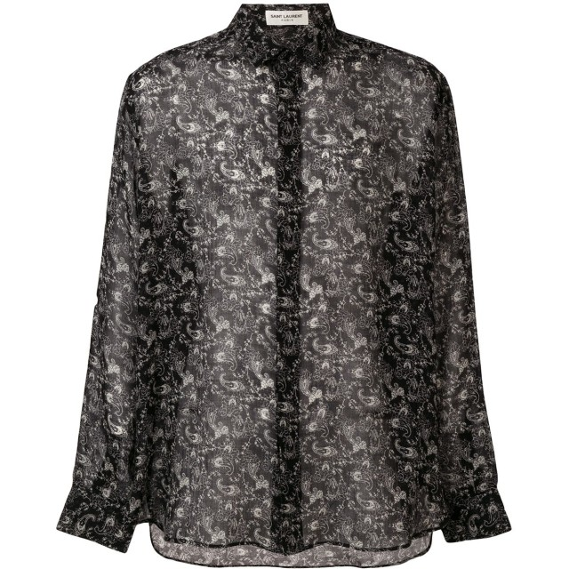 Saint Laurent プリント シアーシャツ - ブラック