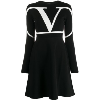 Valentino Vロゴ スケータードレス - ブラック