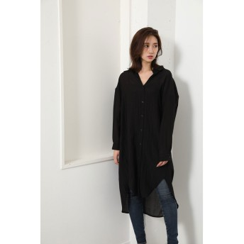 リエンダ rienda ワッシャーシャツ (ブラック)