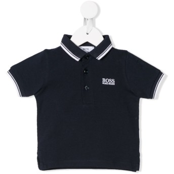 Boss Kids ストライプトリム ポロシャツ - ブルー