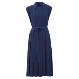 エミリア ウィックステッド Emilia Wickstead レディース ワンピース ワンピース・ドレス Evanthe pleated crepe midi dress Navy