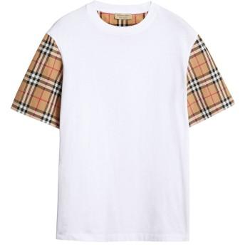 Burberry チェックスリーブ Tシャツ - ホワイト