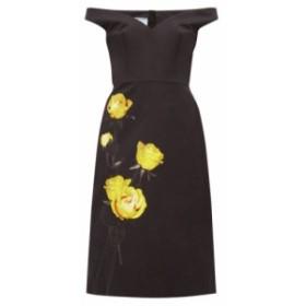 プラダ Prada レディース ワンピース ワンピース・ドレス Off-the-shoulder floral-print cotton dress Black