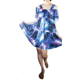 レディースファッション 宇宙柄 フリルワンピース,galaxy