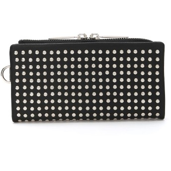 PATRICK STEPHAN Leather long wallet 'all-studs' 2 ロングウォレット 財布,SILVER(ブラックxシルバーメタル)