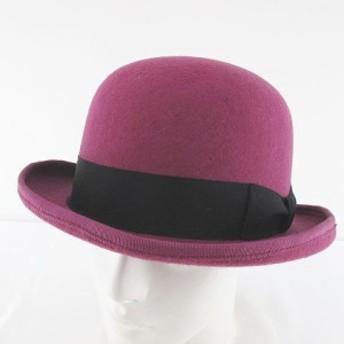 【中古】カシラ CA4LA KNOX 帽子 ボーラーハット ダービーハット 58 紫 パープル系 日本製 リボン 毛 ウール
