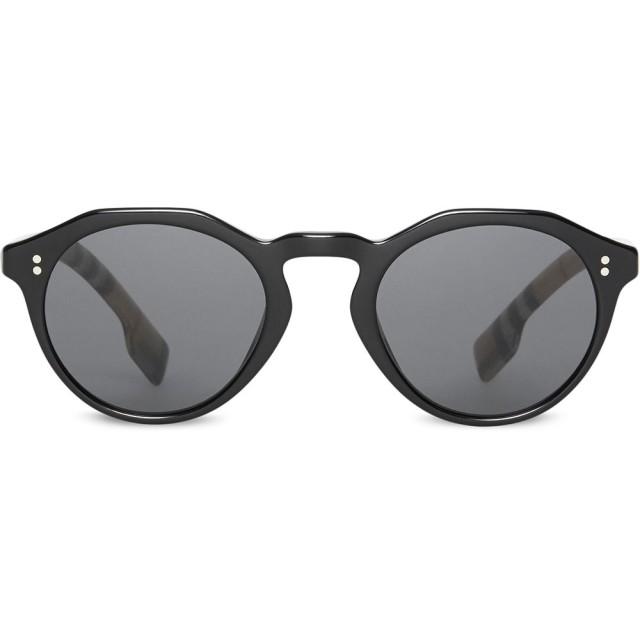 Burberry Eyewear チェックディテール ラウンドフレーム サングラス - ブラック