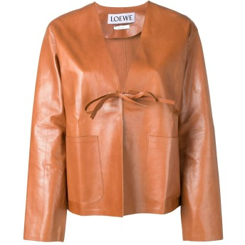 Loewe short leather jacket - ブラウン