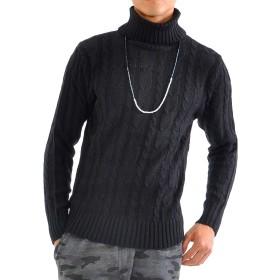 (スペイド) SPADE セーター メンズ ニット タートルネック 無地 カットソー 【w471】 (S, ブラック)