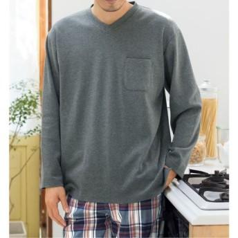 【レディース】 綿100%異素材使いTタイプパジャマ(男女兼用) ■カラー:ボトム:オレンジ系 ■サイズ:M,L,LL