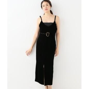 HARDY NOIR 【PHEENY】 Velvet front slit dress ワンピース ブラック 38