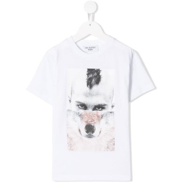Neil Barrett Kids Wolf Man Tシャツ - ホワイト