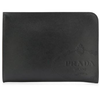 Prada ロゴプレート クラッチバッグ - ブラック