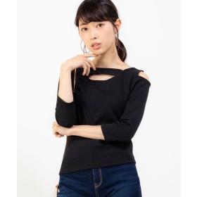 WEGO WEGO/ワンショル7分袖リブTシャツ(ブラック)