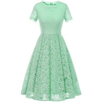 Dresstell(ドレステル) パーティー ドレス 結婚式ワンピース レース 膝丈 半袖 Aライン 通勤 お呼ばれ 発表会 二次会 レディース ミント XLサイズ