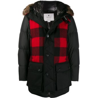 Woolrich Buffalo チェック パーカーコート - ブラック