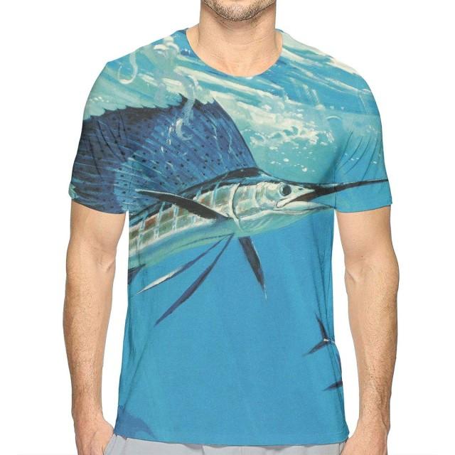 TradingCo 大人 男性着 半袖Tシャツ カジキ 海 ブルー Oネック ティー Tシャツ シャツ 通勤 通学 普段着 S