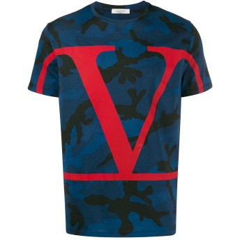 Valentino Vロゴ カモフラージュ Tシャツ - ブルー