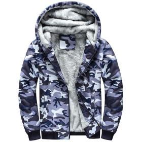 Yunping メンズ パーカー フード付き ジャケット 裏起毛 ボア 厚手 アウター 迷彩柄 カモフラージュ 秋 冬 大きいサイズ M-4XL (ブルー, 4XL)