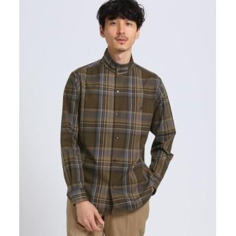 【10%OFF】 タケオキクチ ビッグタータン チェック スタンドカラーシャツ メンズ オリーブグリーン(226) 04(LL) 【TAKEO KIKUCHI】 【タイムセール開催中】
