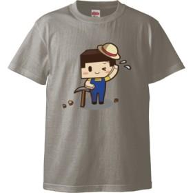 ツルハシたこさん(5.6オンス ハイクオリティー Tシャツ)(カラー : ライトグレー, サイズ : L)