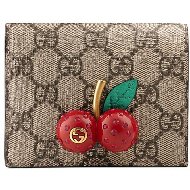 pretty nice ff2a4 7a89e Gucci GG Supreme チェリー 二つ折り財布 - ニュートラル 通販 ...