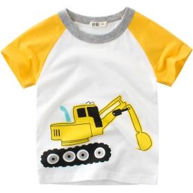 Tシャツ - PlusNao Tシャツ カットソー ラウンドネック 丸襟 丸首 半袖 クルーネック 子供用 キッズ ベビー 乗り物 ショベルカー 働く車 車イラストプリント 女の子 男の子 遊び着 通学 通園 カジュアル