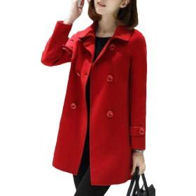 Sodossny-JP 女性冬コートウールブレンドコートトレンチパーカージャケットオーバーコートアウト Red L