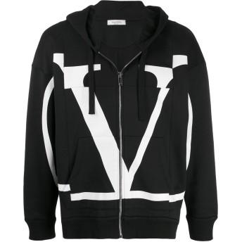 Valentino Vロゴ フーデッド ジャケット - ブラック