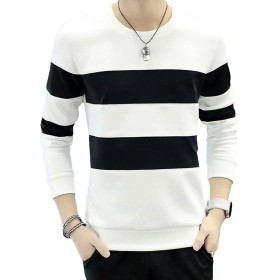 CHROME CRANE(クロム クレイン) メンズ 長袖 シンプル ボーダー プリント Tシャツ デザイン カットソー シャツ LPT009 (01.ホワイト,XL)