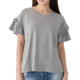 searina Tシャツ レディース 半袖 ゆったり無地ストレッチ素材冷感ひんやりチュニックトップス(グレー, L) (A89)