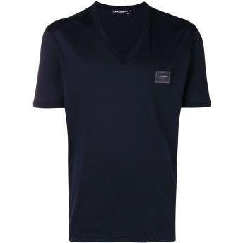 Dolce & Gabbana ロゴパッチ Vネック Tシャツ - ブルー