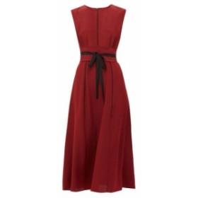 セフィン Cefinn レディース ワンピース ワンピース・ドレス Tie-waist pleated silk midi dress Burgundy