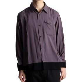 (ラフタス)Rafftas ゆったり カラーリブ 切替 レーヨンシャツ メンズ シャツ 長袖シャツ Lサイズ グレー × ブラック