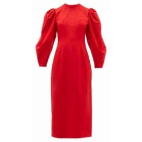 サラ バッタリア Sara Battaglia レディース ワンピース ワンピース・ドレス Backless balloon sleeve wool-blend midi dress Red