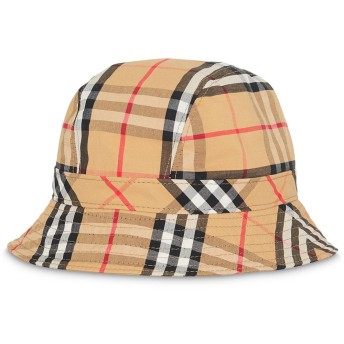 Burberry チェック バケット ハット - ブラウン