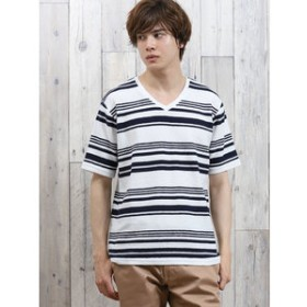 【semantic design:トップス】変形梨地ボーダー Vネック半袖Tシャツ