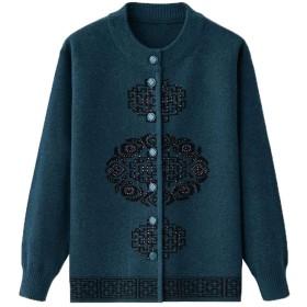 [えみり] レディース カーディガン ボタン 刺繍 ママ 50-70代 女性 コート ショート丈 厚手 大きいサイズ 婦人 ニットセーター 防寒 ゆったり エレガント ブルーL
